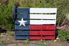 Texas Flag Painted On een Houten Pallet stock foto