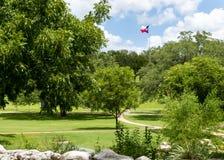 Texas Flag tegen een blauwe hemel Stock Afbeeldingen