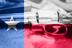 Texas flag U.S. state Gun Control USA. United States Gun Law. S Royalty Free Stock Photos