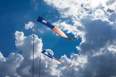 Texas Flags Blowing dans le vent photographie stock libre de droits