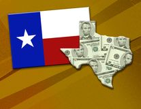 Texas Fortune. Shape of the state of Texas showing money. Flag and state on a rustic textured background. Shape of Texas has clipping path Vector Illustration