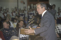 Texas Governor George W. Bush campaigns for the 2000 Republican presidential nomination in Londonderry, New Hampshire, before the  Royalty Free Stock Images