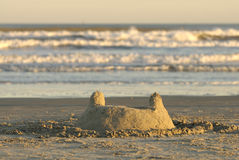 Texas Gulf Coast Sand Castle Royalty Free Stock Photos
