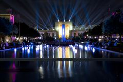 Texas hall of state and esplanade lit up at evening. Texas hall of state and esplanade lit up at State Fair Texas night, Fair Park of city Dallas USA 2017 Stock Photo