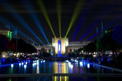 Texas hall of state and esplanade lit up at night. Texas hall of state and esplanade lit up at State Fair Texas night, Fair Park of city Dallas USA 2017 Stock Image