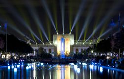 Texas hall of state and esplanade lit up. At State Fair Texas night, Fair Park of city Dallas USA 2017 royalty free stock photography