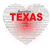 Texas Heart Isolated Word Cloud. A cartoon heart shape with the text TEXAS and the names of the major texas cities over a white background Royalty Free Stock Photos
