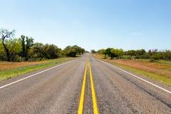 Texas Highway Lined mit Wildflowers Lizenzfreie Stockbilder
