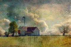 Texas Hill Country Farmhouse abandonado com árvore solitária foto de stock