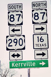 Texas Hill Country Highway Signs to Kerrville. Highway sign with multiple roads listed to Kerrville, Texas Stock Photography