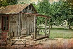 Texas Hill Country Wooden Plank Cabin Stock Image