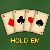 Texas Hold' em. An illustration of a poker aces and concept of Texas hold' em Royalty Free Stock Images