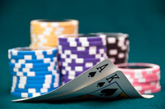 Texas Hold'em. A good hand of texas hold'em Stock Images