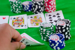 Texas Hold 'Em Big Hand. Illustration of a biggest possible hand in Texas Hold 'Em poker - royal straight flush Royalty Free Stock Photos