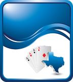Texas hold em on blue wave background. Blue wave backdrop with a texas hold em Stock Image