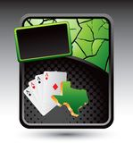 Texas hold em on green cracked advertisement Stock Image