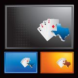 Texas hold em on multicolored halftone ads. Various colored halftone banners with a texas hold em icons Royalty Free Stock Photography