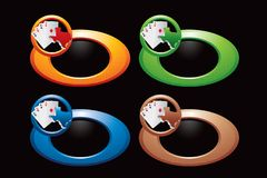 Texas hold em on multicolored rings. Various colored rings with texas hold em icons Royalty Free Stock Photos