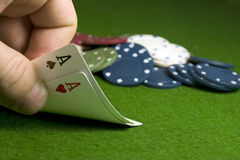 TEXAS HOLD'EM: PAIR OF ACES. Texas Hold'em poker hand of 2 Aces Royalty Free Stock Images