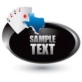 Texas hold em playing cards on silver swoosh icon Royalty Free Stock Image