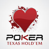 Texas hold em poker, 3D  illustration with card symbol. Red heart. Can be used as design for your poker poster or tournament presentation Royalty Free Stock Photo