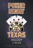 Texas Hold'em poker night invitation poster or banner template. With four aces combination, lettering and casino poker chip. Vector illustration Royalty Free Stock Photography