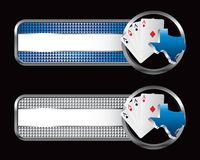 Texas hold em on specialized banners. Striped tabs with texas hold em icon Stock Images