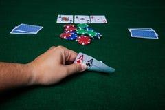 Texas Holdem due assi Fotografia Stock Libera da Diritti