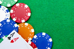 Texas holdem pocket aces on a casino table. Texas holdem pocket aces on casino table with copy space and chips Royalty Free Stock Photos