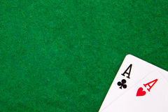 Texas holdem pocket aces on casino table. With copy space Stock Photography
