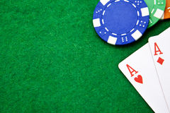 Texas holdem pocket aces on casino table Royalty Free Stock Photography