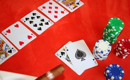 Texas Holdem Poker game. Royal flush, in a texas holdem poker game Royalty Free Stock Image