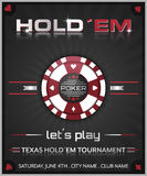 Texas holdem poker tournament poster. Vector illustration with poker chip symbol Royalty Free Stock Photography