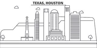 Texas Houston arkitekturlinje horisontillustration Linjär vektorcityscape med berömda gränsmärken, stad siktar vektor illustrationer