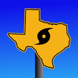 Texas hurricane warning sign. Texas warning sign with hurricane symbol on blue illustration Stock Photography