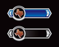Texas icon on blue and black arrows. Texas icon on blue and black arrow banners Royalty Free Stock Images