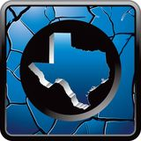 Texas icon on blue cracked web button Royalty Free Stock Images