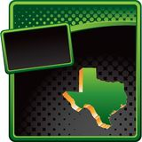 Texas icon on green and black halftone ad. Green and black halftone banner template with a texas icon Stock Photography
