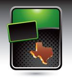 Texas icon on gren stylized banner. Green stylized advertisement of a texas icon Stock Photo