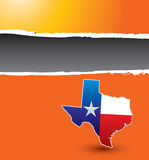 Texas icon on orange ripped banner. Texas lonestar state ripped orange template Stock Photo