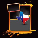 Texas icon on orange splattered banner vector illustration