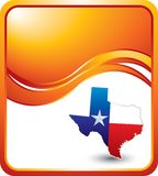 Texas icon on orange wave background Stock Photos