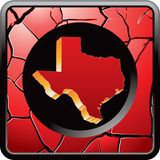 Texas icon on red cracked web button Stock Photo