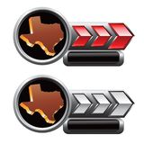 Texas icon on red and silver arrow banners Royalty Free Stock Photo