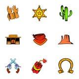 Texas icons set, cartoon style. Texas icons set. Cartoon illustration of 9 texas vector icons for web Royalty Free Stock Photography