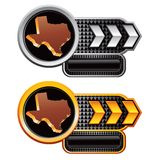 Texas icons on silver and gold arrow banners Royalty Free Stock Photo