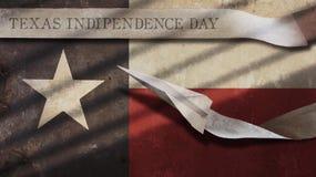Texas Independence Day Flagga och flygplan Arkivbild