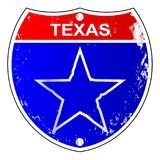 Texas Lone Star Interstate Sign. Texas interstate sign with lone star over a white background Stock Photo