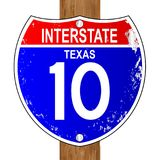 Texas Interstate Sign. 10 over a white background Royalty Free Stock Photography