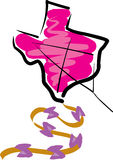 Texas Kite. Texas shaped kite flying in sky Stock Images